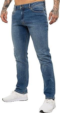 Enzo Mens Straight Leg Stretch Jeans Basic Work Denim Pants Big Tall All Waists