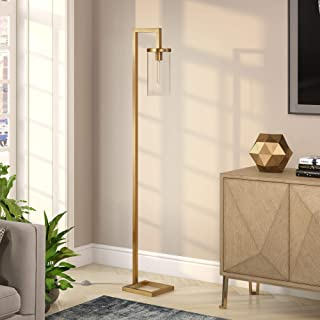 Henn&Hart FL0320 Floor Brass Finished with Clear Glass Lamp, Gold