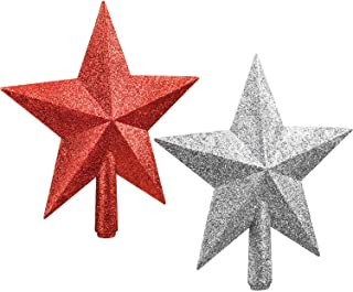 Boao 2 Pieces Glitter Star Christmas Tree Topper Xmas Treetop Topper for Christmas Tree Decoration (Red, Silver)
