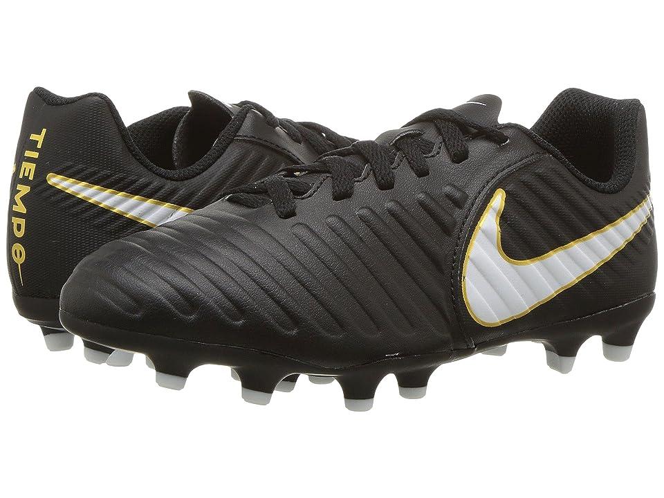 Nike Kids Tiempo Rio IV Firm Ground Soccer Boot (Toddler/Little Kid/Big Kid) (Black/White/Black) Kids Shoes
