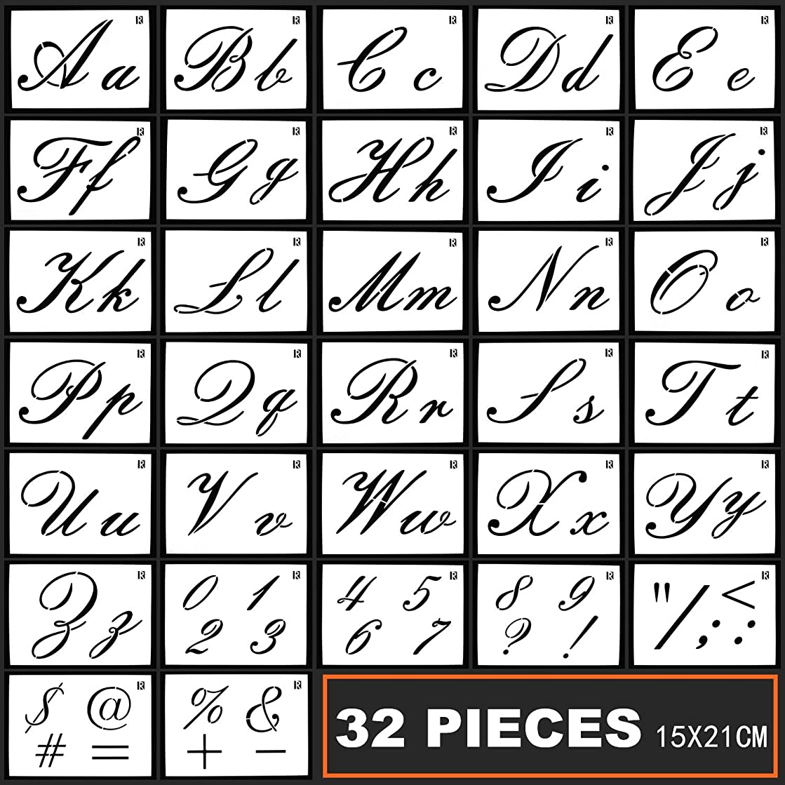 32 Pieces Alphabet Stencils Set Plastic Letter Stencils for Painting Learning, DIY Craft Decoration