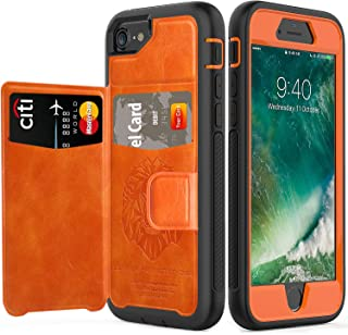 iPhone 7 Case 2016 iPhone 8 Case 2017 with Wallet,SXTech (Leather Cover Series) Slim Yet Protective with Kickstand.Built-in Magnetic Backing Card Holders Case Fit for iPhone 6S 4.7 inch Case-Orange
