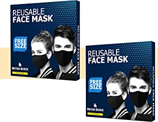 BRITISH BASICS Branded Reusable Cotton Cloth Face Mask. Unisex Washable mouth cover for Men & Woman. Anti Dust Mask for Cycling, Jogging, Travel etc - Free Size - Black - 2 Packs. قناع الوجه القماش