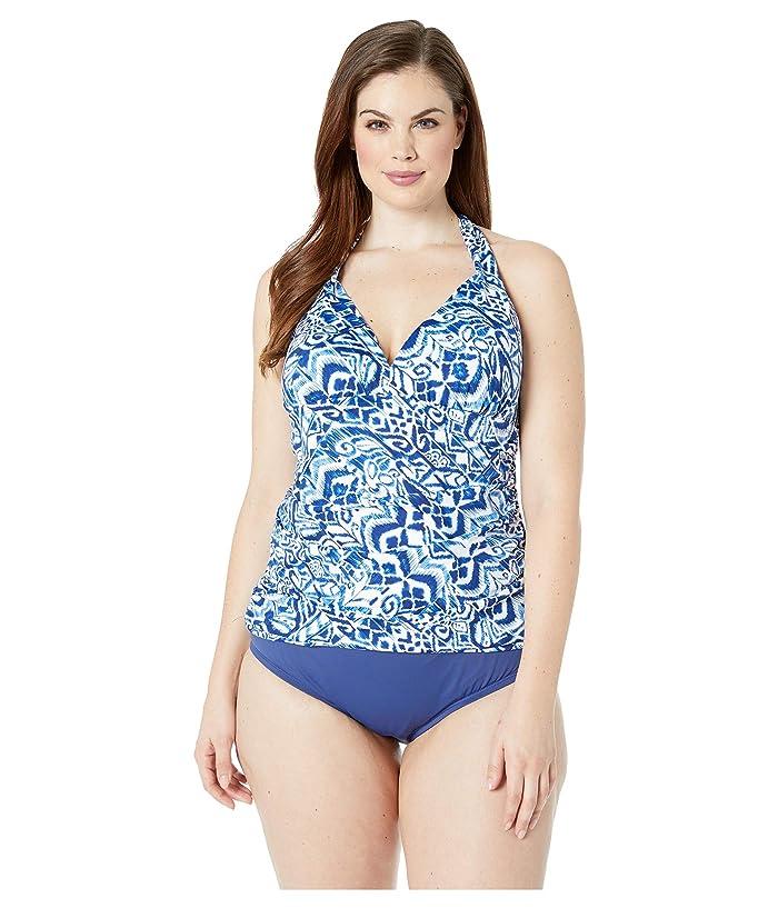 LAUREN Ralph Lauren Plus Size Bias Tribal Ikat Halterkini (Blue) Women