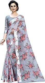 PERFECTBLUE Women's Linen Silk Digital Saree With Blouse Piece(Part-2-Digital)