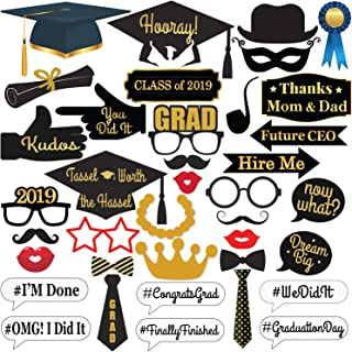 KatchOn Graduation Photo Booth Props - 2019 Graduation Decorations for Graduation Party Supplies 2019, Class of 2019, Congrats Grad, Large Size for More Fun, 40 Count