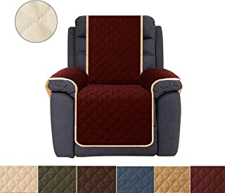 Ameritex Sofa Cover, Reversible Quilted Furniture Protector, Ideal Loveseat Slipcovers for Pets & Children, Water Resistant,   Double line Checkered Grid Blue (Pattern1:Burgundy/Beige, Recliner)