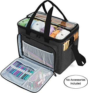 """Teamoy Knitting Bag, Yarn Tote Organizer with Inner Divider (Sewn to Bottom) for Crochet Hooks, Knitting Needles(Up to 14""""), Project and Supplies, Black -No Accessories Included"""