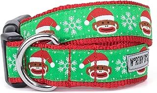 The Worthy Dog Santa Sock Monkey Merry Christmas! Adjustable Designer Pet Dog Collar, Red, MD