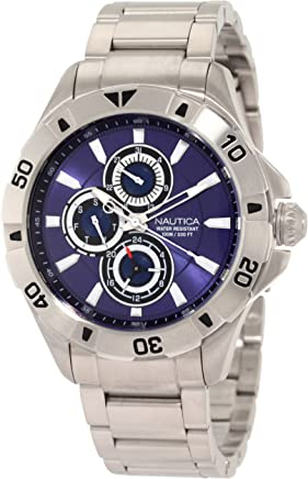 Nautica Mens N17546G NST 06 Multifunction Blue Dial Steel Bracelet Watch
