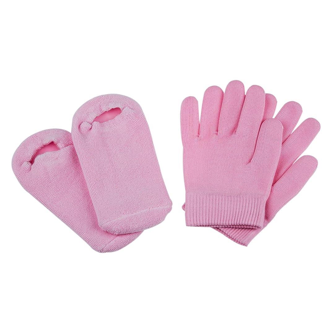 インペリアル見かけ上ピンクACAMPTAR ビューティーSPAソックスと手袋 モイスチャライジングジェルセラピースキンケア ピンク色