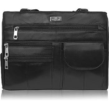 Damen Leder Handtasche aus weichem Schwarzen Leder Schultertasche mit 2 Oberen Griffen 8 Innentaschen 2 Große Reißverschluss Hauptfächer
