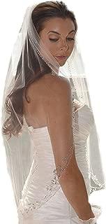 short veil Bridal Veil Embroidery Edge Beaded Pearls crystal rhinestone VL1056