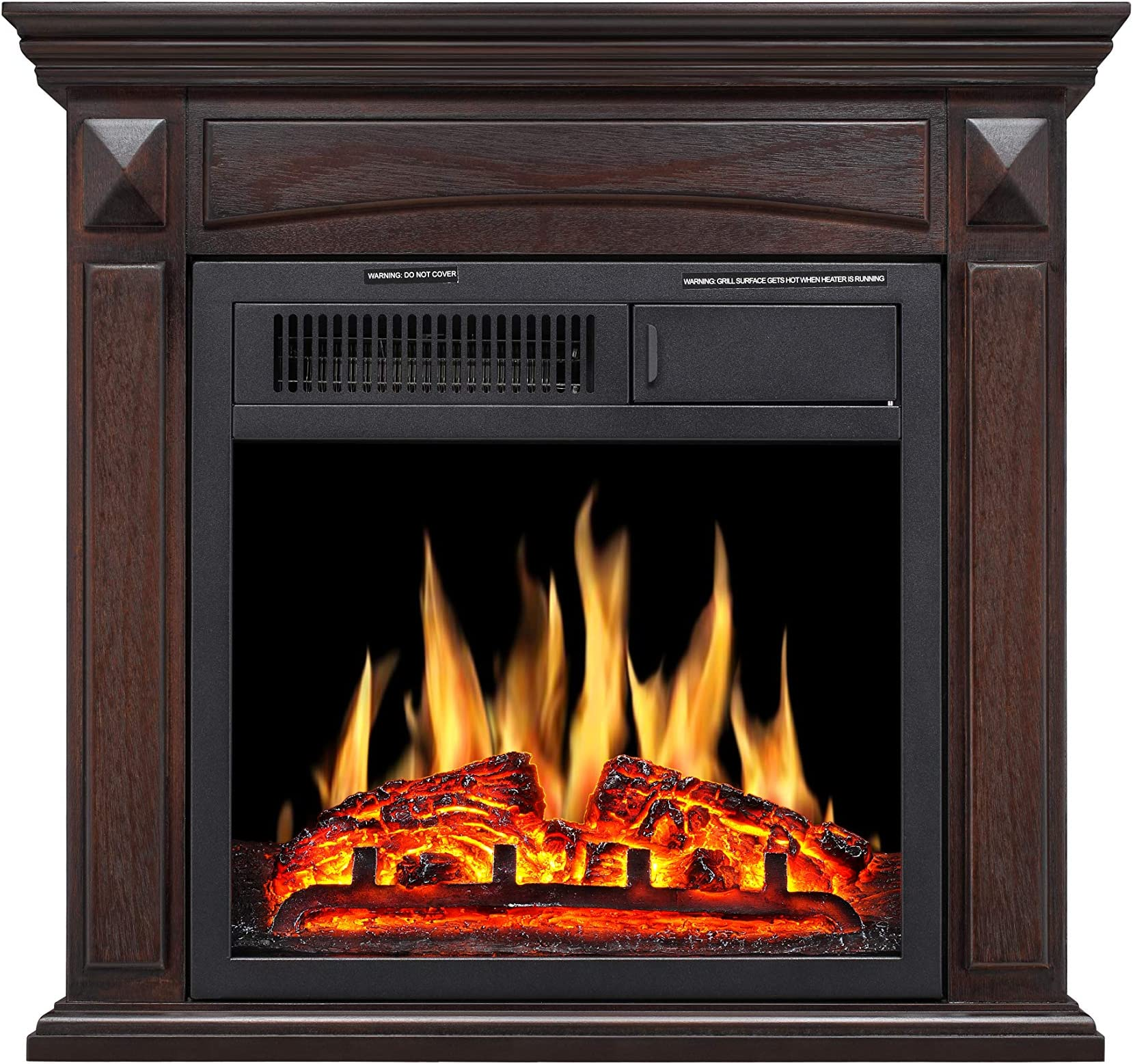 Joy Pebble Electric Fireplace Mantel Wooden Surround Firebox Freestanding Fireplace Hearter With Realistic Log Flame Remote Control 750 1500w Brown Kitchen Dining