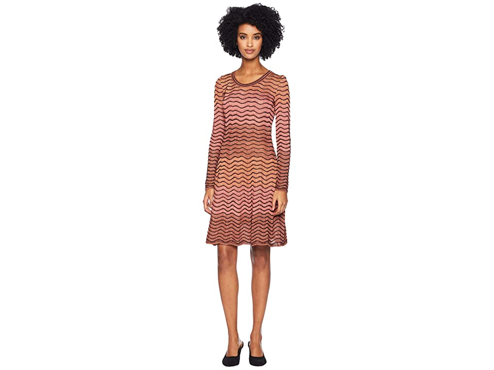 M Missoni Ripple Ombre Lurex Long Sleeve Dress (Coral) Women