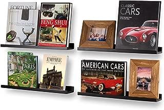 Wallniture Denver Modern Wall Mount Bookshelf for Book Display and Floating Picture Ledge Shelf Black 22 Inch Set of 4