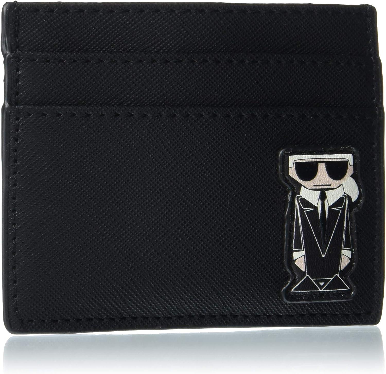 Karl Lagerfeld Paris Women's Card Case Wallet, BLACK/BLACK MULT, One Size