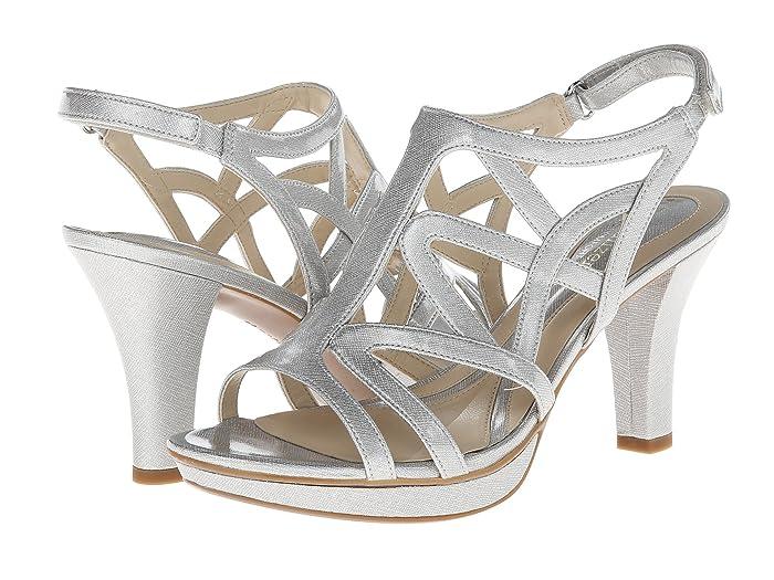60s Shoes, Boots Naturalizer Danya Soft Silver Crosshatch Shiny Womens Sandals $68.95 AT vintagedancer.com
