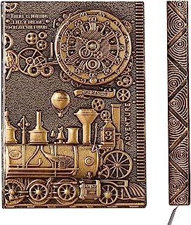 YHH Cuaderno A5 Rayas Tapa Dura, en Relieve, Hecho a mano, 200 Páginas, Libretas Bonitas, Diario de Viaje Cuero, Vintage J...