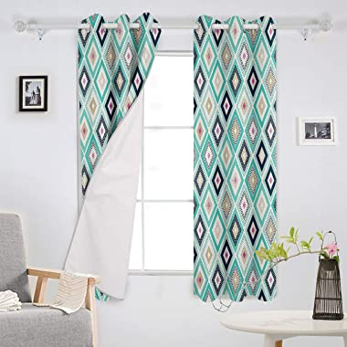 Polyester Fabric Curtain Room Darkening Window Treatment for Bedroom 40x84 Inch Long Thermal Insulated Living Room Curtain -