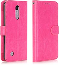 Alkax for LG Aristo Case Wallet,LG Fortune/LG Phoenix 3 / K8 2017 / LV3 / Rebel 2 LTE Case with Kickstand Credit Card Slot Holder PU Leather Flip Folio Protective Cover Magnetic Wrist Strap-Hot Pink