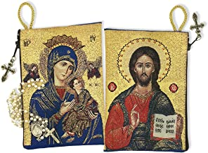 Religious Gifts Our Lady of Perpetual Help with Christ The Teacher Tapestry Rosary Pouch, 5 3/8 Inch