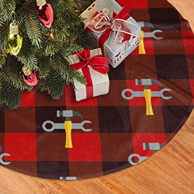"""Christmas Tree Skirt Hammer and Wrench Rustic Xmas Tree Decoration 30"""""""