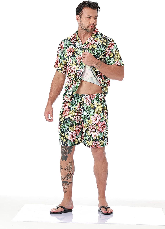 LEPTON Mens Pajamas Set - Silk Satin Hawaii Men's PJ Bottoms and Shirt