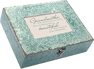 Cottage Garden Grandmother Beautiful Embossed Teal Filigree Music Box Plays Wind Beneath My Wings