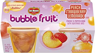 Del Monte Bubble Fruit, Peach Strawberry Lemonade, 4-Ounce, 4-Count (Pack of 6)