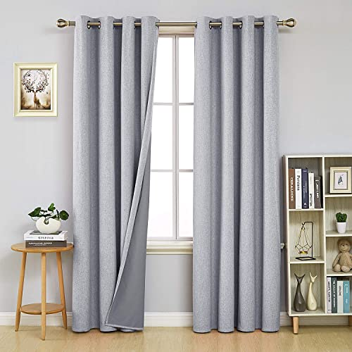 Deconovo Full Blackout Curtain Energy Saving Room Darkening With Grey Coating Curtains For Kids