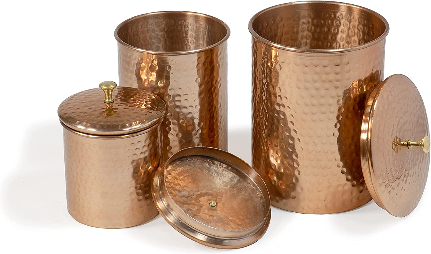 Red Co. Decorative Round Hand-Hammered Nesting Brand Cheap Sale Venue Max 58% OFF Copper J Canister