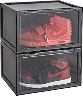 LifestyleEssential - Drop Front Shoe Box - Shoe Storage Container - Acrylic Sneaker Box - Shoe Bin - Foldable - Stackable - Clear - for Men Women - 2 Boxes Each Package (Drop-Front-B-Black, Black)