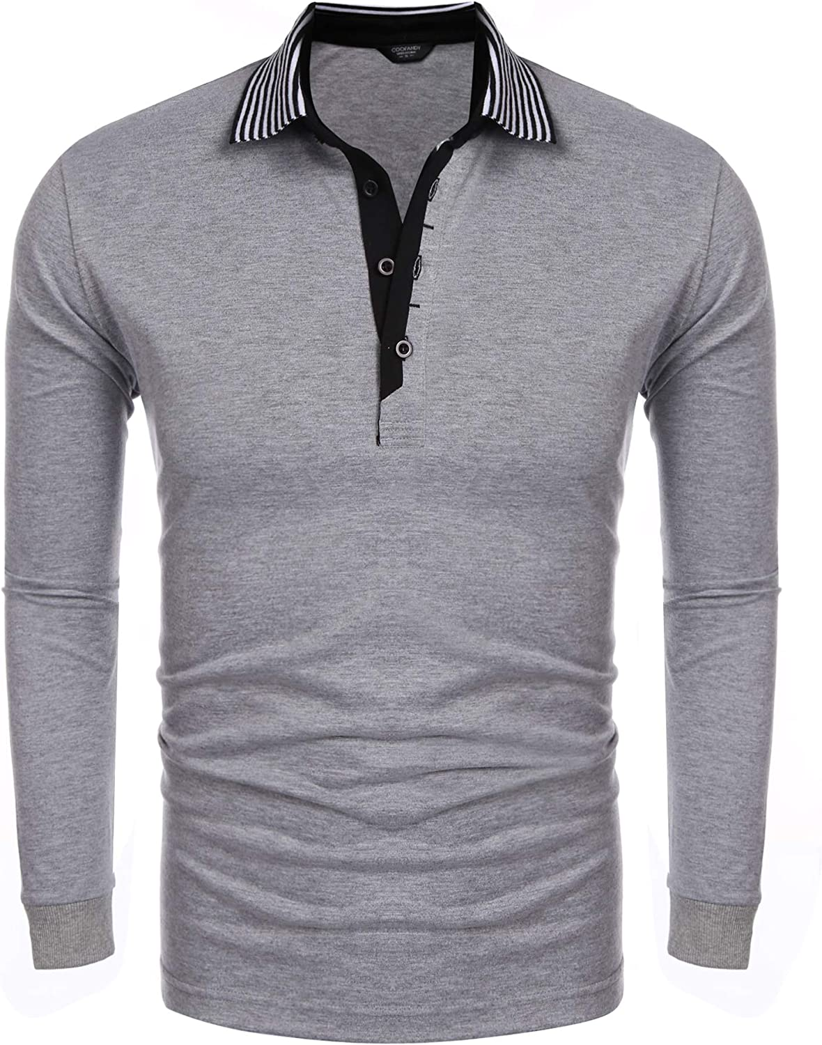 COOFANDY Men's Long Sleeve Polo Shirt Striped Collar Casual Slim Fit Cotton Polo T Shirts