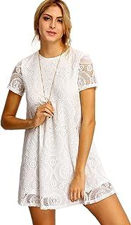 Romwe Women's Plain Short Sleeve Floral Summer Floral Lace Prom Party Shift Dress