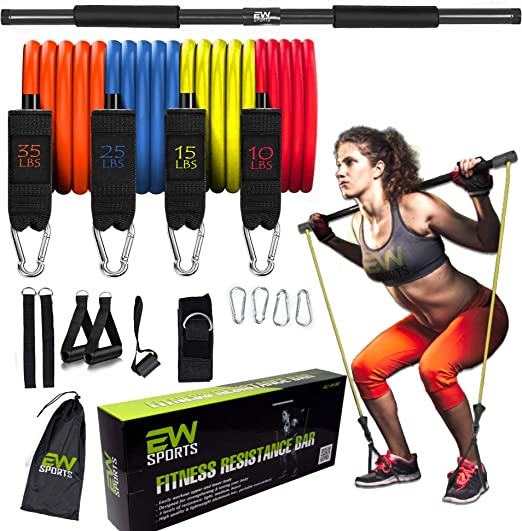 ECO WHIFF - Resistance Band Pilates Bar Kit Exercise Resistance Yoga Band | Home Workout Gym Equipment for Men and Women | Pilates Exercise Stick | Weighted Bars (Black)