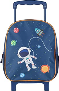 Mochila con ruedas con purpurina, para niños, color azul oscuro, con diseño de astronauta y espacial, como maleta de mano, maleta escolar y mochila infantil, aprox. 31 x 27 x 10 cm