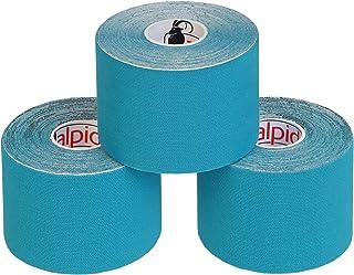 ALPIDEX 3 Rollos Cinta Kinesiología Tape 5 m x 5 cm Cinta Muscular E- Book Ejemplos Aplicación, Color:azul claro