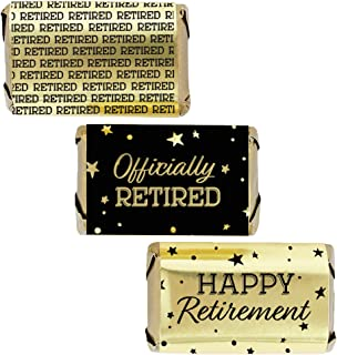 Black and Gold Retirement Mini Candy Bar Wrappers - Shiny Foil - 45 Stickers