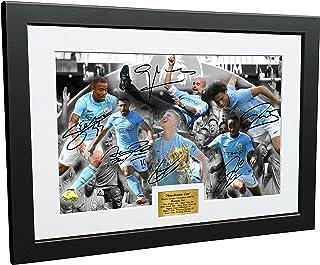2017/18 Premier League Champions Celebration 12x8 A4 Signed Manchester City Pep Guardiola - Kevin De Bruyne - Sergio Agüer...