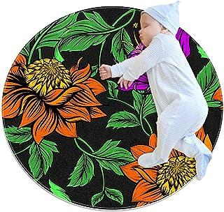 Apelsinblommor, barn rund matta polyester soffområde matta mjuk pedagogisk tvättbar matta barnkammare tipi tält lekmatta
