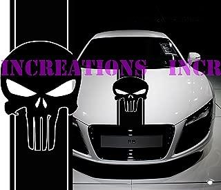 Hood Punisher Skull Universal Fit Any Car GMC Dodge Toyota Stripe Truck Decal Sticker (Black)