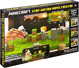Minecraft Stop-Motion Movie Creator, Includes 1 movie stage, 4 different backgrounds, 3 exclusive mini-figures, 1 additional mini-figure, 15 props and a phone/tablet holder
