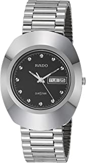 ساعة يد للرجال من الستانلس ستيل ومينا اسود من رادو موديل R12391153