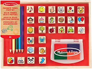 Melissa & Doug Wooden Stamp Set, favourite Things - 26 Wooden Stamps, 4-colour Stamp Pad