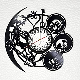 Fun Door Kingdom Hearts Handmade Vinyl Record Wall Clock for Birthday Wedding Anniversary Valentine's Mother's Ideas for Men and Women him and her