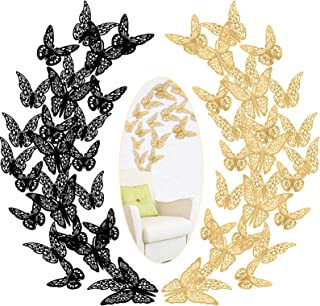 3D Butterfly Wall Stickers 72 PCS Butterflies Wall Decals Removable Mural Stickers Decor for Bedroom Party Wedding Decoration