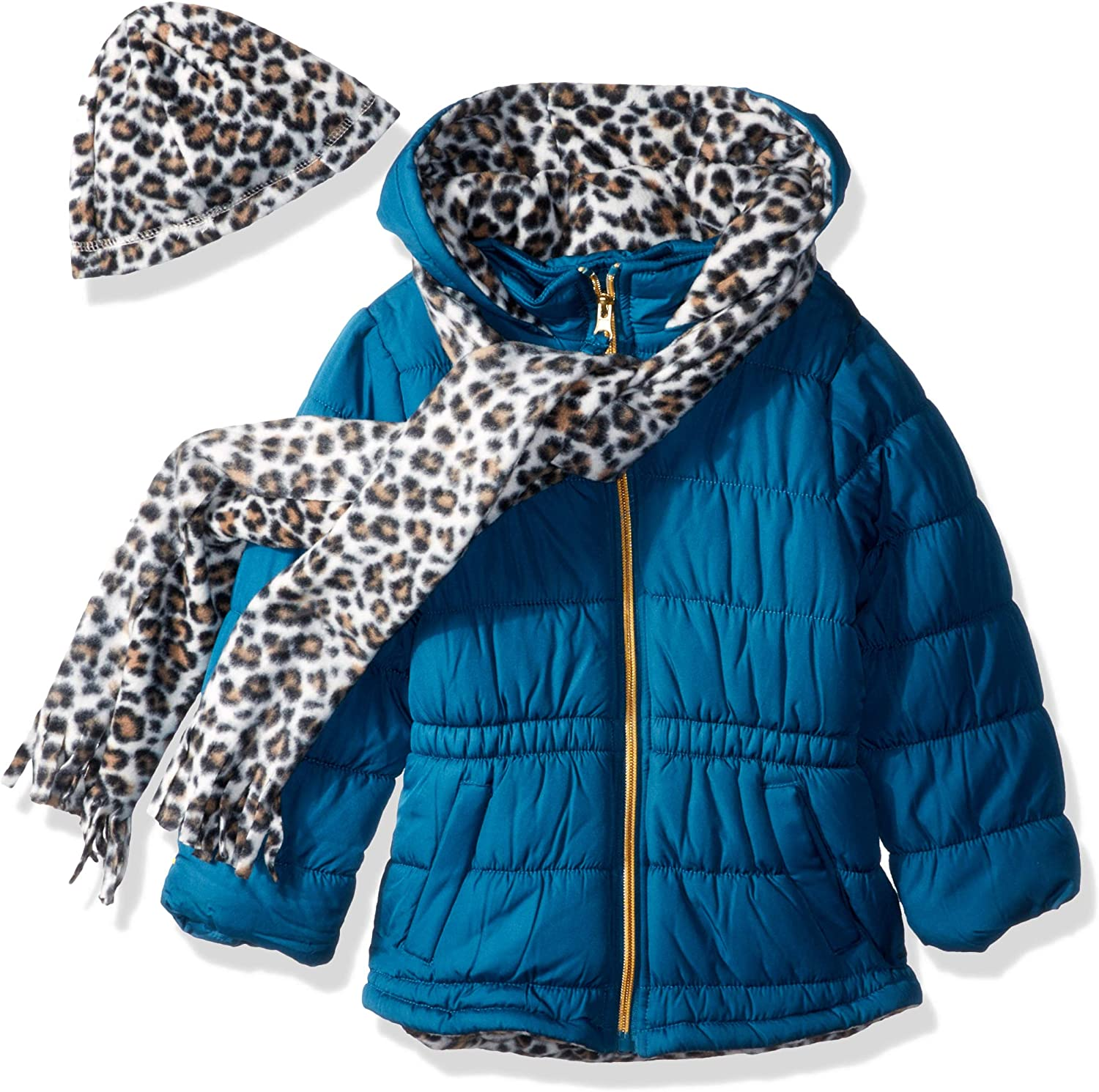 Pink Platinum Girls' Quilted Puffer With Accessory