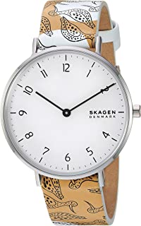 Skagen Women's Aaren Stainless Steel and Leather Floral Quartz Watch