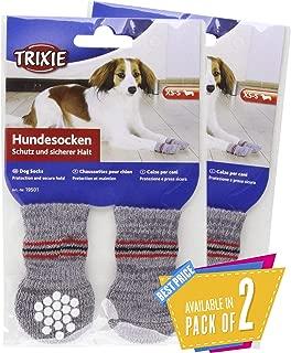 Trixie Non-Slip Grey Dog Socks, S-M, 1 Pair Pack of 2